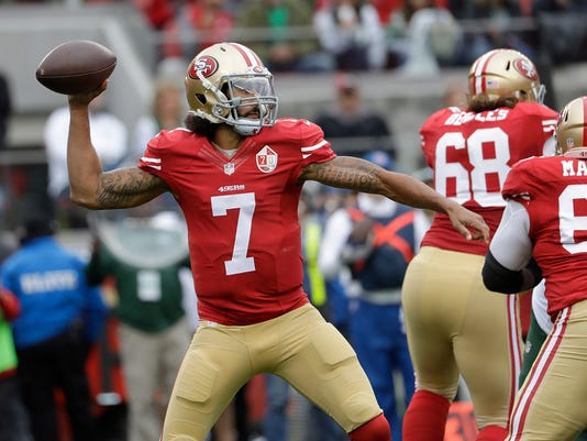 """FILE - In this Dec. 11, 2016, file photo, San Francisco 49ers quarterback Colin Kaepernick (7) passes against the New York Jets during the first half of an NFL football game in Santa Clara, Calif.  Houston Texans coach Bill O'Brien says he and general manager Rick Smith have discussed signing Colin Kaepernick in the wake of last week's season-ending injury to Deshaun Watson. When asked about Kaepernick on Monday, a day after Tom Savage struggled in a loss to the Colts, O'Brien said: """"We talk about the roster and what's out there every day Rick and I."""" When pressed on whether they have specifically discussed adding Kaepernick he said: """"Oh yeah, everybody gets discussed."""" (AP Photo/Marcio Jose Sanchez, File)"""