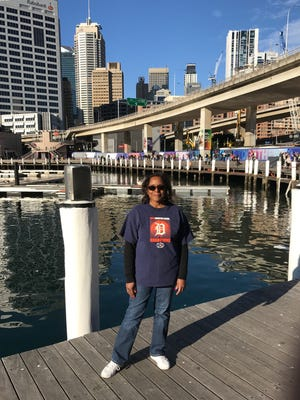Charles Barksdale took a picture of his friend Nancy Andrews from Southfield when they took the D to Darling Harbour in Sydney, Australia in July 2017.