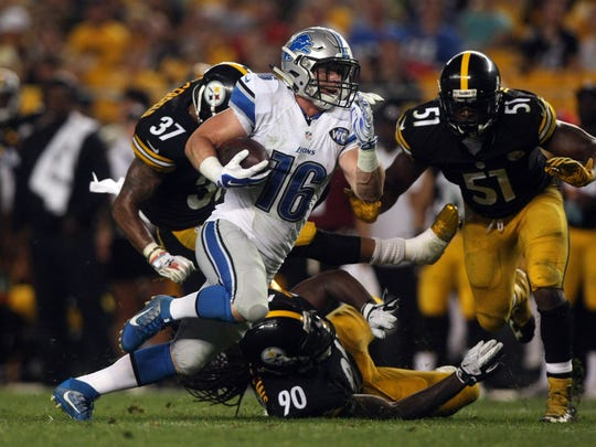 Lions wide receiver Jace Billingsley runs for a touchdown past Pittsburgh Steelers defenders during the preseason last year.