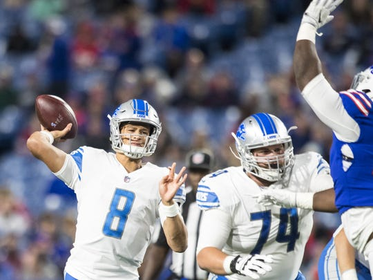 Lions quarterback Brad Kaaya passes in the second half against the Bills on Aug. 31, 2017 at New Era Field in Orchard Park, New York.
