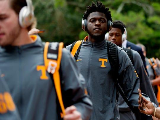 Tennessee wide receiver Brandon Johnson (7) greets