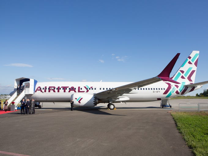 Air Italy's first Boeing 737 Max is unveiled at a delivery