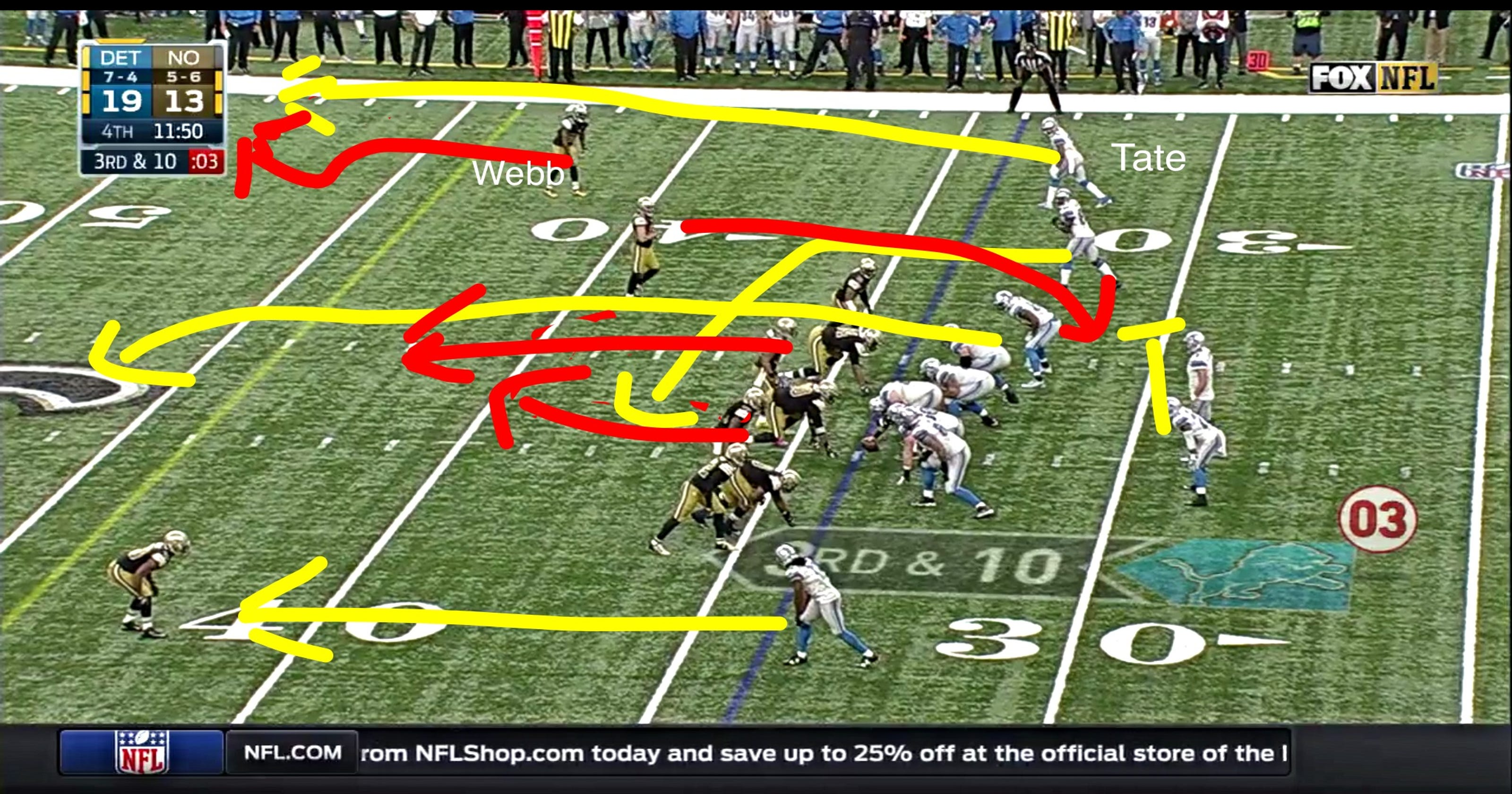 half off 63a6a ea258 Detroit Lions film study: Stafford-to-Tate sealed win over ...