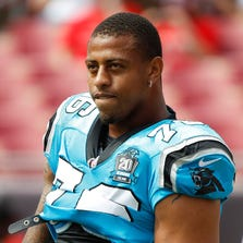 Panthers defensive end Greg Hardy as convicted in July on two counts of assault on a female and communicating threats, but was actively appealing the conviction.