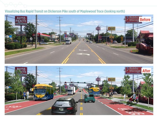A before and after of what the Nashville Bus Rapid