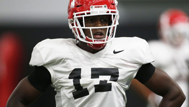 Georgia defensive back Otis Reese (17) looks on during a NCAA college football practice in Athens, Ga., Tuesday, August 7, 2018.
