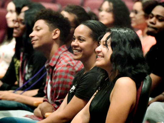 Helen Thackston Charter School students Levoyzanae Graham, left, and Yaczy Mena laugh during a rehearsal for commencement at Hannah Penn K-8 Thursday, May 31, 2018. The graduation takes place there Friday at 6 p.m. This could potentially be the last class of seniors to graduate at Thackston as the school heads into a trial June 15 with York City School District that could result in them having to close by June 30. Bill Kalina photo