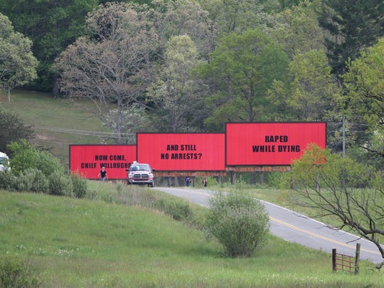 "2016: Jarring messages appear along North Fork Left Fork in Black Mountain as crews began filming ""Three Billboards Outside Ebbing, Missouri,"" directed by Martin McDonagh."