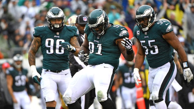 Philadelphia Eagles defensive tackle Fletcher Cox (91) celebrates his sack against San Francisco 49ers quarterback C.J. Beathard (3) (not pictured) during the second quarter at Lincoln Financial Field.