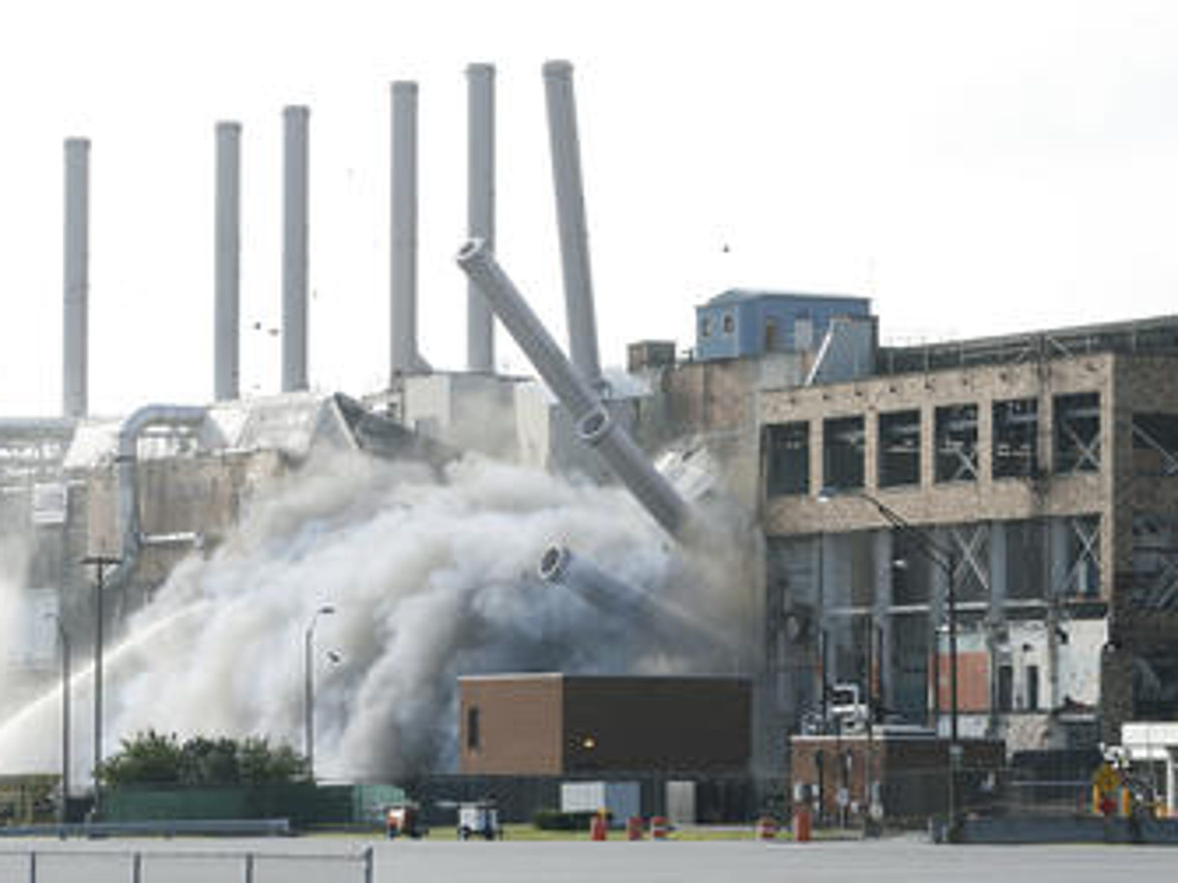 Kodak implodes an abandoned building at its Eastman Business Park in Rochester, New York.