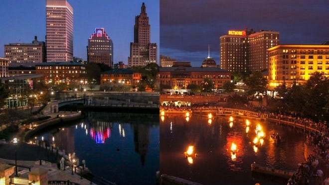 Waterplace Park, Providence when WaterFire is on, at right, and when it's canceled.