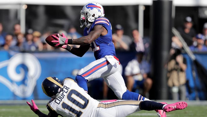 Nickell Robey-Coleman intercepts a pass intended for Los Angeles Rams wide receiver Pharoh Cooper and returned it for a touchdown.
