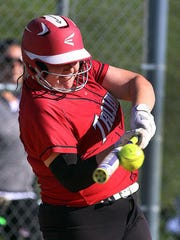 Bishop Ahr's Katie Eicher pitched a perfect game as the Trojans defeated South River and advanced in the Greater Middlesex Conference Tournament on Monday, May 15, 2017.