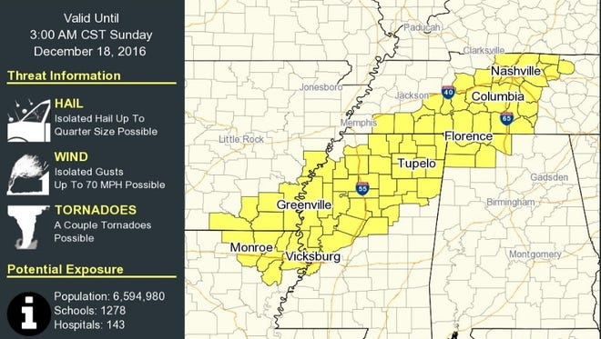 Tornado watch issued for parts of Mississippi, Alabama, Arkansas, and Tennessee.