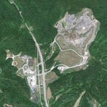 A Google Earth view of the Blue Grass Landfill and two schools in Estill County.
