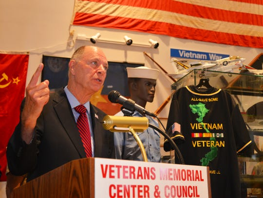 Congressman Bill Posey speaks to veterans Tuesday at