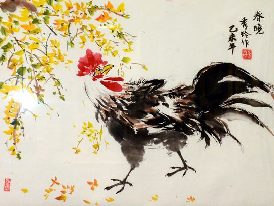 Ridgewood Chinese Brush Painting Exhibition at the Ridgewood Library celebrates the Chinese New Year.  Rooster by Jane Chang.