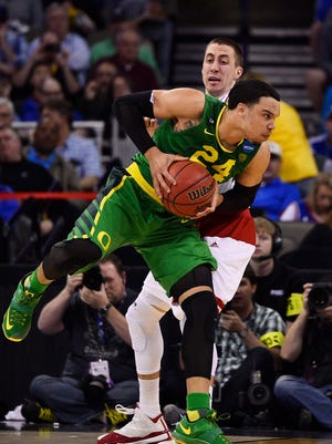 Mar 22, 2015; Omaha, NE, USA; Oregon Ducks forward Dillon Brooks (24) drives to the basket against the Wisconsin Badgers during the first half in the third round of the 2015 NCAA Tournament at CenturyLink Center. Mandatory Credit: Jasen Vinlove-USA TODAY Sports