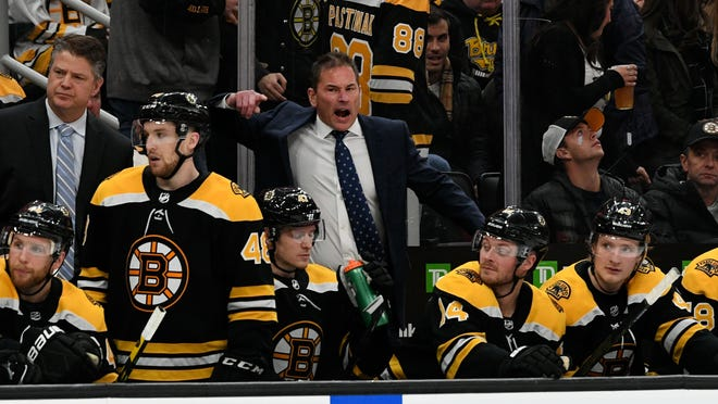 Boston Bruins head coach Bruce Cassidy reacts to a non-call by an official during the third period against the Minnesota Wild at the TD Garden on Nov. 23, 2019.