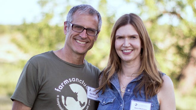 "Farm Sanctuary President and co-founder Gene Baur joins new CEO Kendra ""Kera"" Melrose."