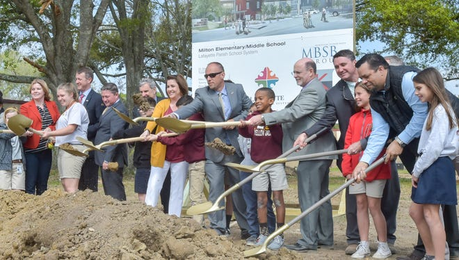 Ground breaking ceremonies by school and school board representatives for a major new addition at Milton Elementary/Middle School.  Thursday, March 16, 2017.