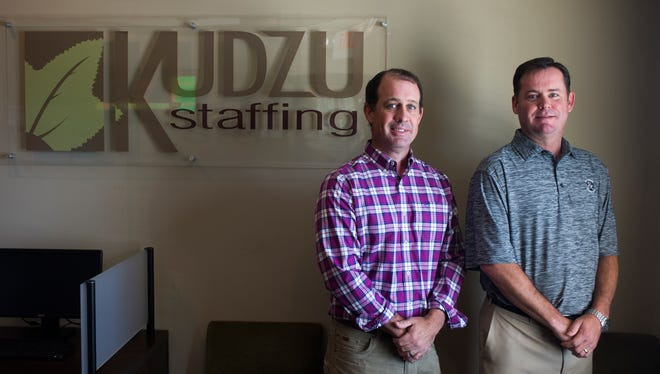 Sean Thornton and Will Jones of Kudzu Staffing pose for a portrait in their Greenville office on Tuesday, April 25, 2017.