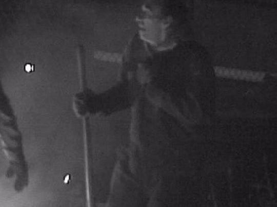 Pictured is one of two suspects involved in the theft of 200 scrap water meters, police say.