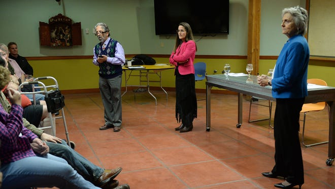 Fort Collins legislators Sen. John Kefalas and Reps. Jeni Arndt and Joann Ginal answer questions at New Belgium on Monday, December 21, 2015.