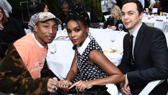 Impact Award winner Pharrell Williams (producer of  Hidden Figures), Janelle Monae and Jim Parsons (stars of Hidden Figures).