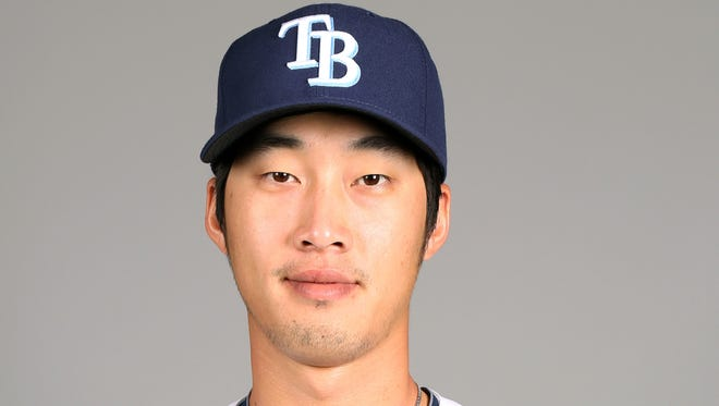 PORT CHARLOTTE, FL - FEBRUARY 21:  Hak-Ju Lee #36 of the Tampa Bay Rays poses during Photo Day on Thursday, February 21, 2013 at Charlotte Sports Park in Port Charlotte, Florida.  (Photo by Robbie Rogers/MLB Photos via Getty Images) *** Local Caption *** Hak-Ju Lee