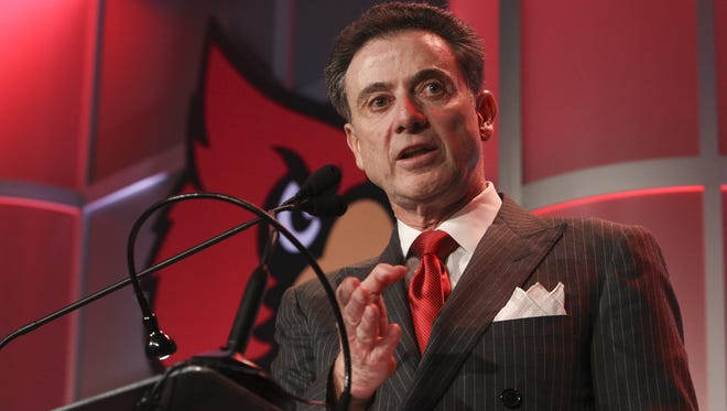 UofL Men's Basketball coach Rick Pitino makes remarks during UofL Basketball Tip Off Luncheon. October 20, 2014