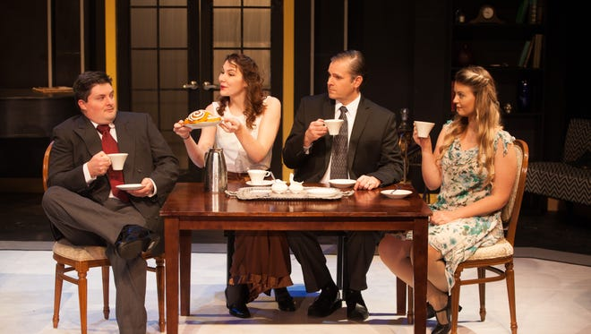 """From left, Scott Mock, Samantha Charboneau, Bob Myers, and Southie Williamson respectively play Victor, Amanda, Elyot, and Sibyl in """"Private Lives."""""""