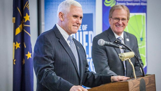 Gov. Mike Pence addresses executives and employees of ASONS in a press conference regarding the company's plan to expand its Muncie-based corporate headquarters Thursday morning. ASONS plans on creating up to 316 new jobs by 2024 according to a company press release.