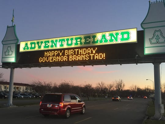 A sign at Adventureland Park greeted guests arriving at Gov. Terry Branstad's 70th birthday party on Nov. 19, 2016. The governor was born on Nov. 17, 1946.