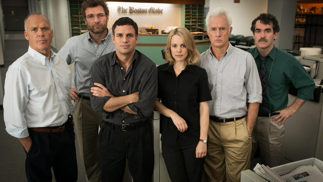 "Michael Keaton (from left) Dutchess County resident Liev Schreiber, Mark Ruffalo, Rachel McAdams, John Slattery and Brian d'Arcy James starred in the film,  ""Spotlight."""