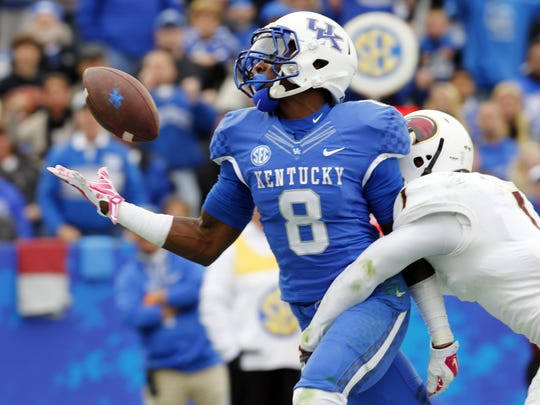 Kentucky wide receiver Javess Blue makes a one-handed catch during a game against Louisiana-Monroe at Lexington, Ky., last October.