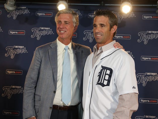 Detroit Tigers GM Dave Dombrowski announced former Tiger catcher Brad Ausmus as the new manager, November 3, 2013 at Comerica Park in Detroit.