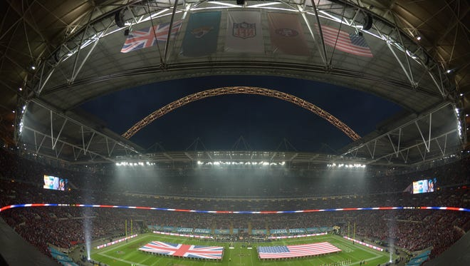 On Oct 27, 2013, a general view of the British flag and the United States flag on the field during the playing of the national anthem prior to the NFL International Series game between the San Francisco 49ers and the Jacksonville Jaguars at Wembley Stadium.