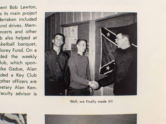 The Confederate flag appears in the 1964 South Burlington High School yearbook. Seen on Tuesday, September 22, 2015.