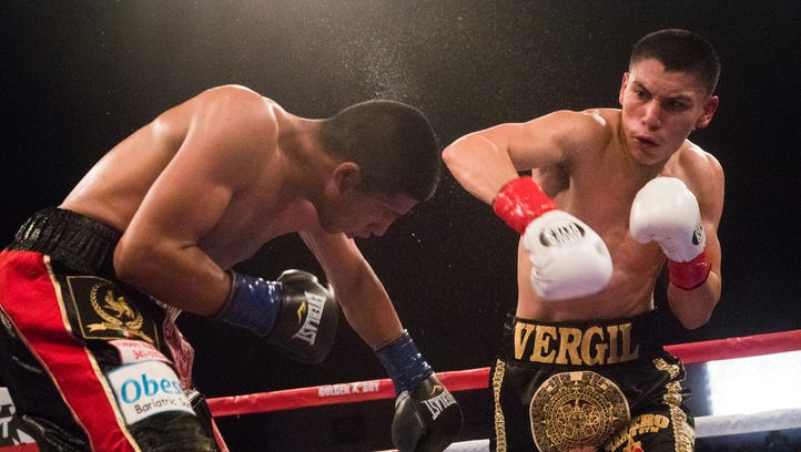 Vergil Ortiz, of Grand Prairie, Texas during his fight