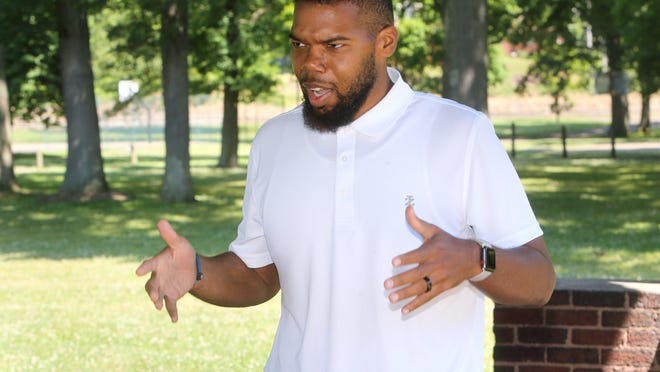 "Brad Tyson speaks at Nimisilla Park in Canton. He is spearheading an event on July 11 to promote racial harmony and understanding through his Christian faith. It is called ""The Reset."""