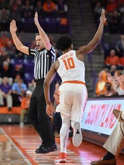 Clemson guard Gabe DeVoe (10) reacts after sinking a three point shot against North Carolina during the 1st half on Tuesday, January 30,  2018, at Clemson's Littlejohn Coliseum.