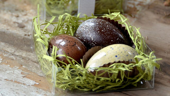 Farm eggs are among the spring offerings at Hedonist Artisan Chocolates.