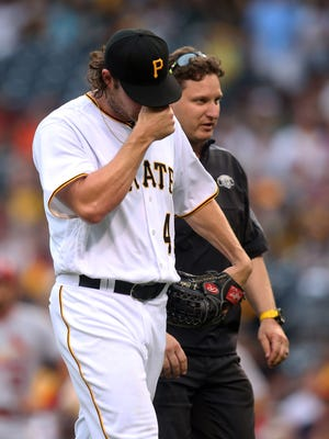 Pirates starting pitcher Gerrit Cole leaves the game with an injury.