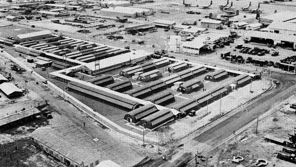 An aerial photo of the 36th Evacuation Hospital at