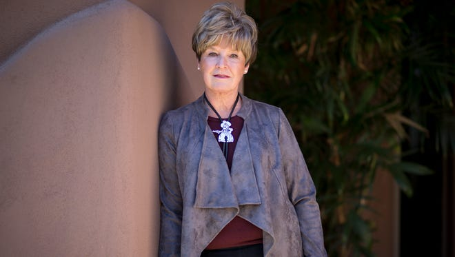 MaryLou Davis at her home in Scottsdale, Arizona, on Jan. 4, 2018, is part of the 19-member search panel that will play a major role in helping to find New Mexico State University's next chief executive. And she's chair of the university foundation.