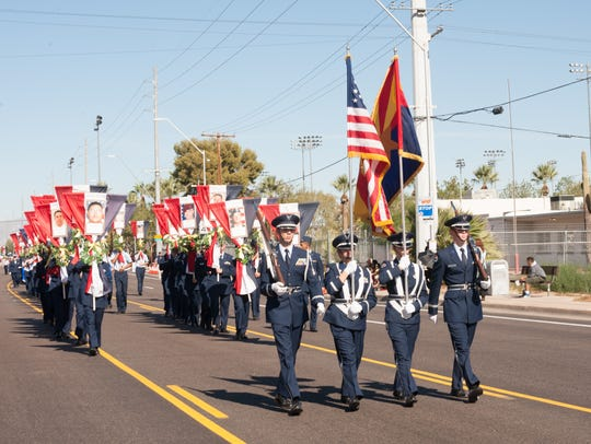 The East Valley Veterans Parade marching through Mesa