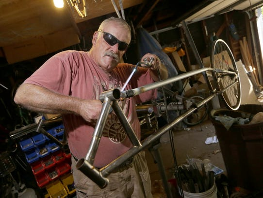A.D. Carson, who runs Recycled Recumbents, uses a braising