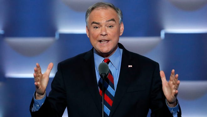 Democratic vice presidential candidate, Sen. Tim Kaine, D-Va., speaks during the third day of the Democratic National Convention in Philadelphia Wednesday.