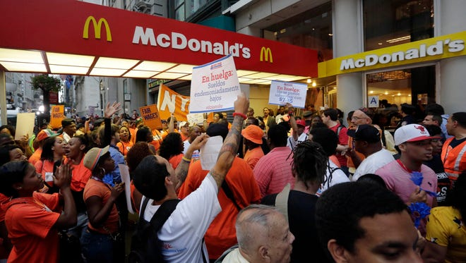 A demonstration calling for higher minimum wage in New York last August.